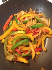 Sauteed peppers just enough that they still have a crisp